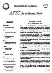 Page de garde Bulettin liaison AFTC IdF Paris